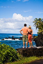 Couple Standing on Rock Wall - Maui